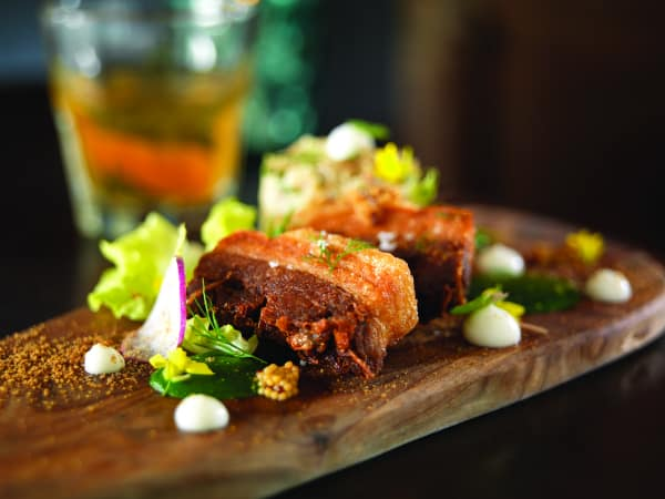 crispy pork belly with potato salad