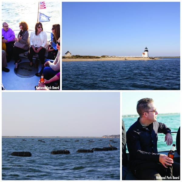 a collage of photos showing the Brant Point Lighthouse and an oyster farm