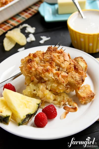 a slice of coconut french toast bake
