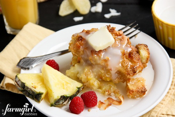 a piece of Baked French Toast drizzled with coconut sauce