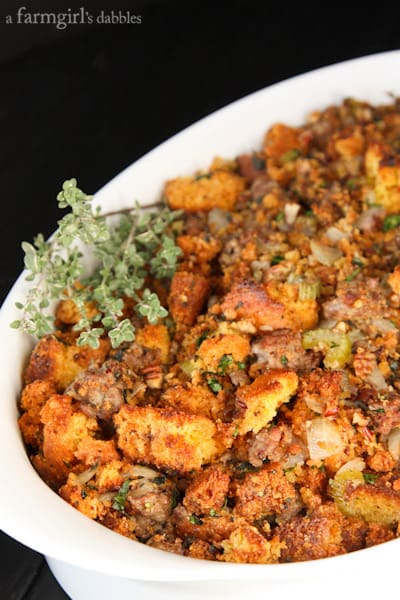 Three-Pepper Sausage Cornbread Dressing Recipe — Dishmaps