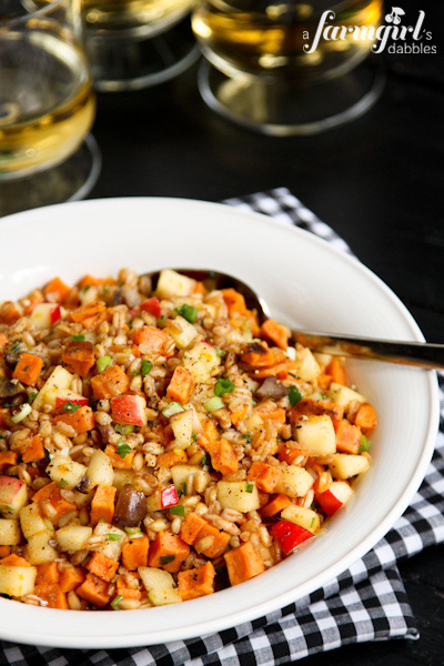 Farro and Spiced Honey Salad with Sweet Potatoes, Apples, and Chestnuts - www.afarmgirlsdabbles.com