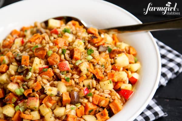 Farro Salad mixed with Sweet Potatoes, Apples, and Chestnuts