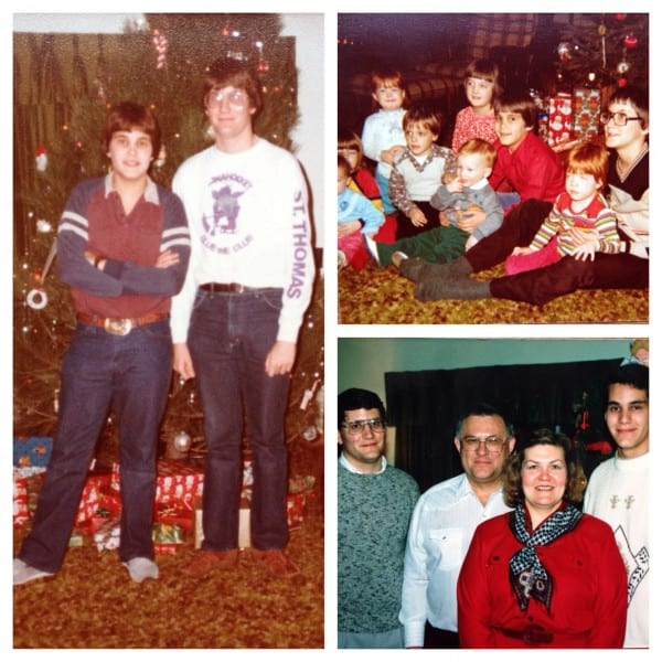 a collage of family christmas photos