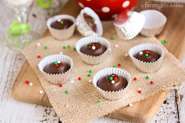 Homemade Peanut Butter Cups - afarmgirlsdabbles.com #peanutbutter #peanutbuttercups #chocolate