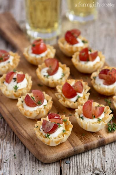 Mini Phyllo Cups filled with Whipped Goat Cheese and topped with Grapes and Thyme