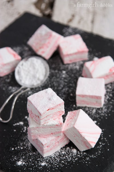 Peppermint Swirl Marshmallows - afarmgirlsdabbles.com #peppermint #marshmallow