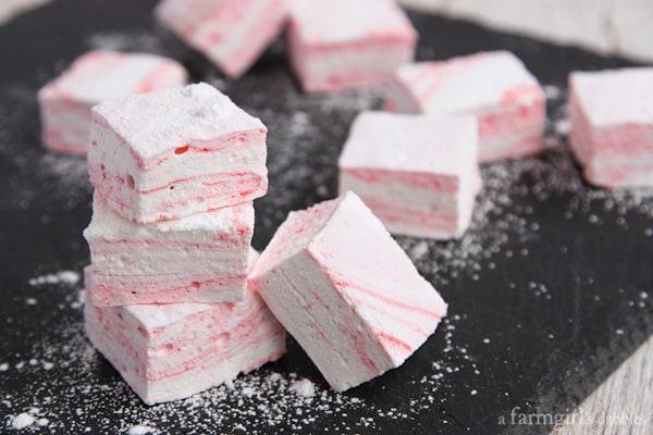 Peppermint Swirl Marshmallow cubes