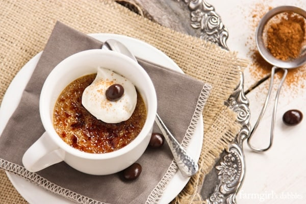 Cappuccino Crème Brûlée dusted with cinnamon