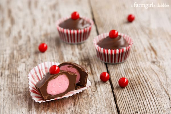 a Chocolate Cherry Candy Cup sliced in half