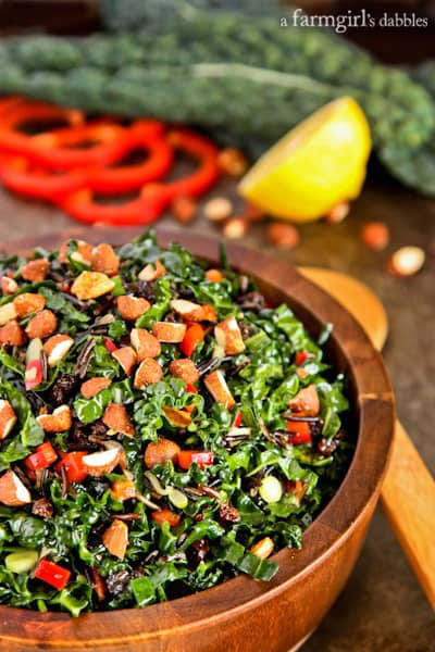 Kale and Wild Rice Salad with Chipotle Maple Almonds and Zingy Currants - afarmgirlsdabbles.com