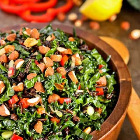 kale salad with almonds, wild rice, and currants