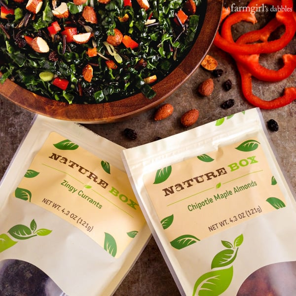 Kale and Wild Rice Salad with Chipotle Maple Almonds and Zingy Currants RECIPE + #giveaway from NatureBox! - afarmgirlsdabbles.com