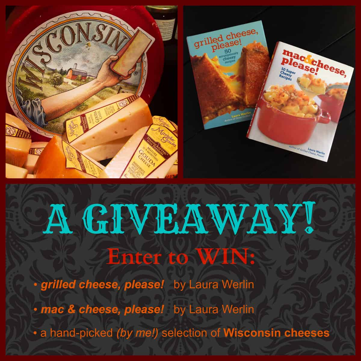 Giveaway! Cheese cookbooks by @LauraWerlin PLUS a whole bunch of awesome @WisconsinCheese! Enter at afarmgirlsdabbles.com