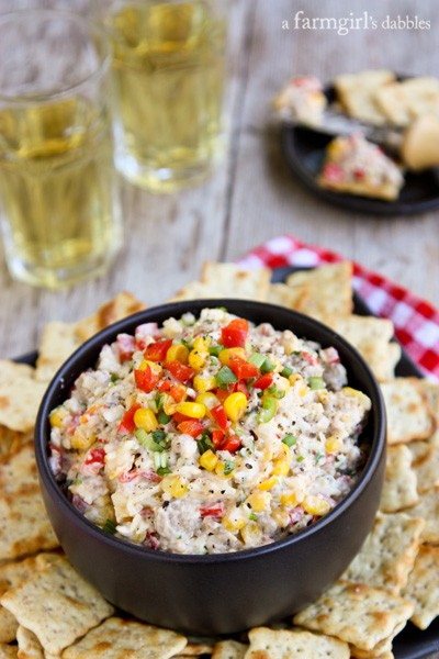 Kicked-Up Cheesy Corn and Sausage Dip - afarmgirlsdabbles.com