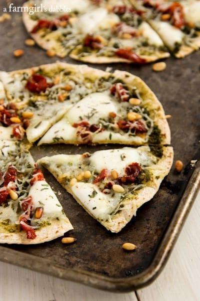 Individual Tortilla Caprese Pizzas - afarmgirlsdabbles.com