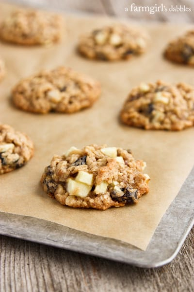 Oatmeal Cookies with Apples, Raisins, and Pecans - afarmgirlsdabbles.com
