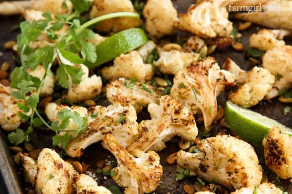 Roasted Mexican Cauliflower with Pepitas - afarmgirlsdabbles.com