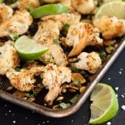 mexican cauliflower on a roasting pan