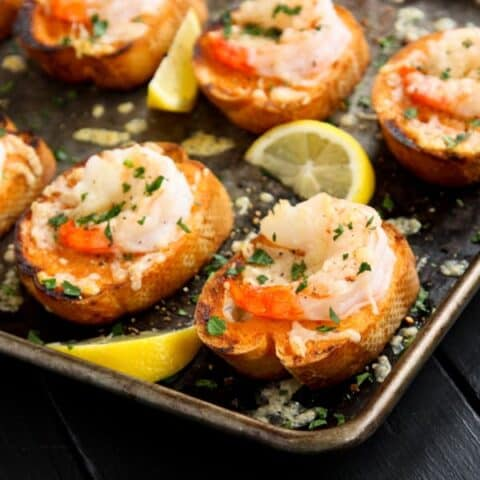 sriracha garlic shrimp toast