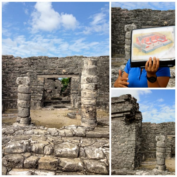 a collage of photos from the tulum ruins