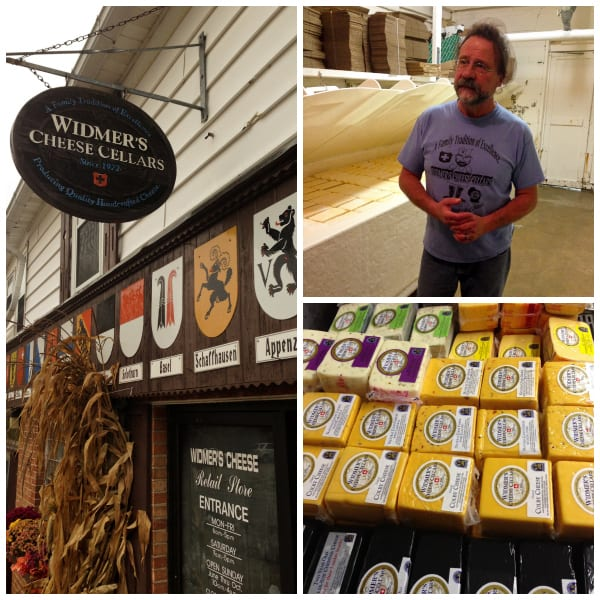 a collage of photos from widmer's cheese cellars