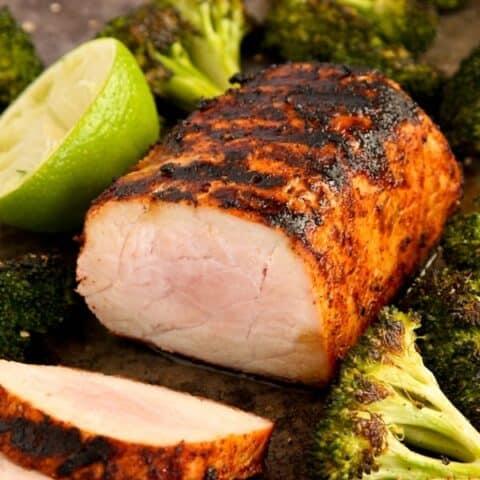 slices of chili lime pork tenderloin