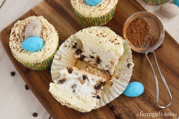 Chocolate Chip Angel Food Cupcakes with Vanilla Cream - afarmgirlsdabbles.com