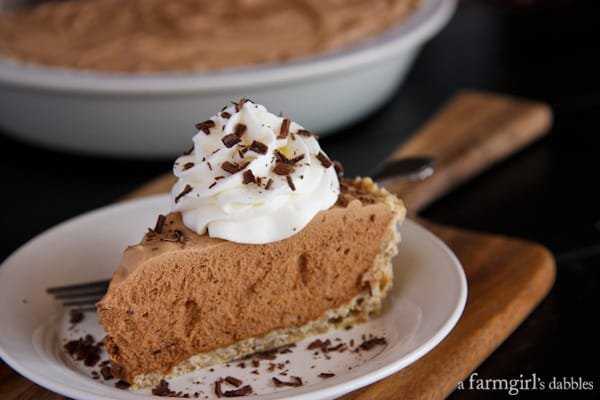 Chocolate French Silk Pie with Salted Pecan Crust - afarmgirlsdabbles.com
