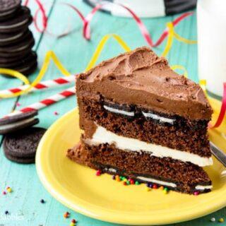 a slice of chocolate oreo cake