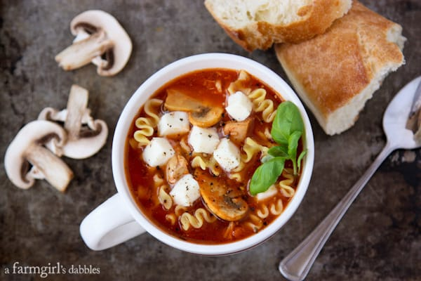 Slow Cooker Lasagna Soup with Chicken and Mushrooms - afarmgirlsdabbles.com