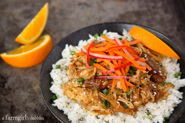 Slow Cooker Orange Chicken with Fresh Asian Slaw - afarmgirlsdabbles.com