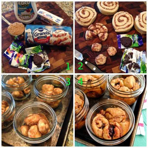 the four steps for assembling jars of monkey bread
