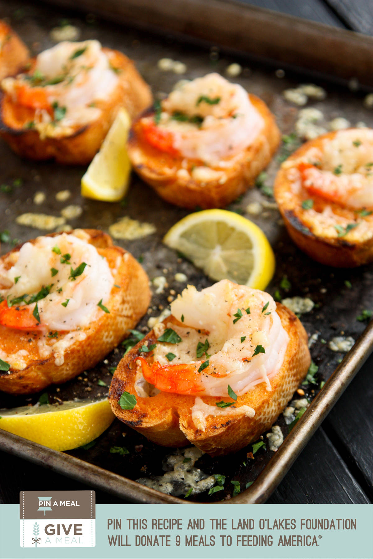 Sriracha Garlic Toasts with Shrimp - Each pin donates 9 meals to Feeding America #giveameal #kitchenconvo afarmgirlsdabbles.com