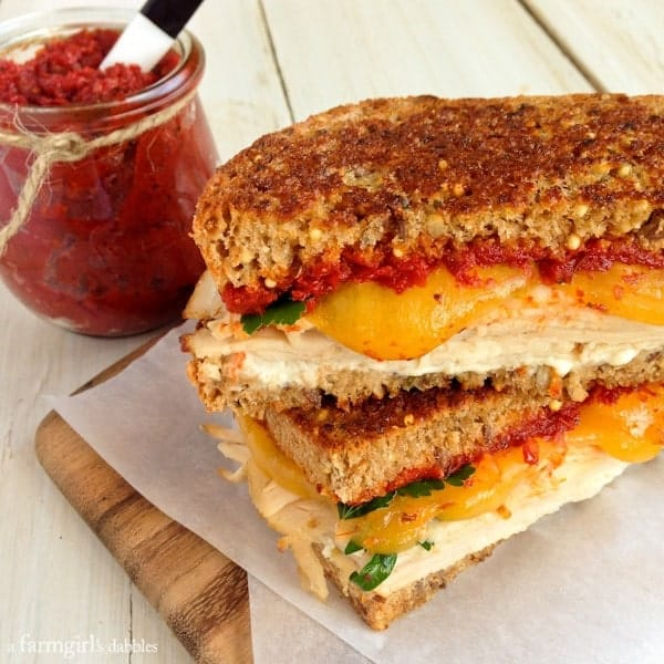 Herby Turkey Grilled Cheese Sandwich with Sun-Dried Tomato Spread - afarmgirlsdabbles.com