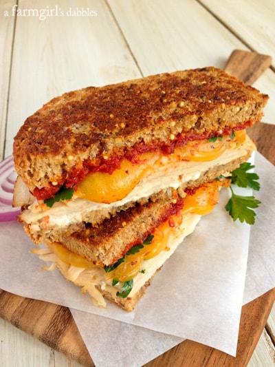 Herby Turkey Grilled Cheese Sandwich With Sun Dried Tomato Spread Afarmgirlsdabbles Com