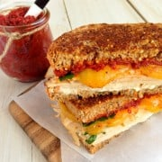 Herby Turkey Grilled Cheese Sandwich with Sun-Dried Tomato Sprea