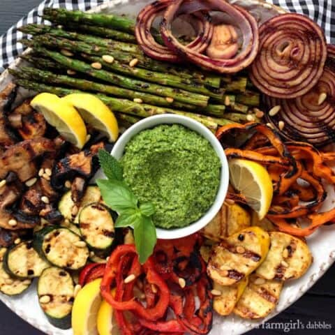 Miso-Butter Grilled Veggies with Basil-Mint Pesto