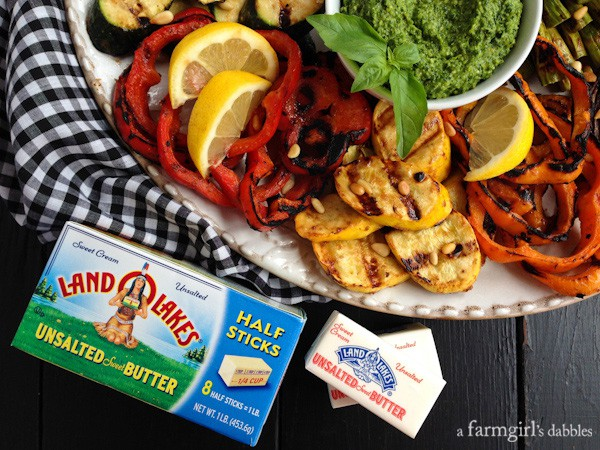 Miso-Butter Grilled Veggies with Basil-Mint Pesto ::: afarmgirlsdabbles.com #kitchenconvo #grilling #vegetables #butter #miso #pesto