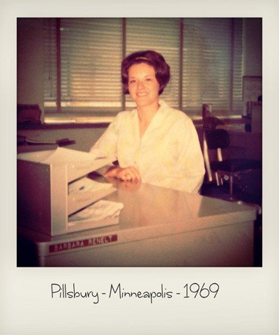 the author's mom working at pillsbury in 1969
