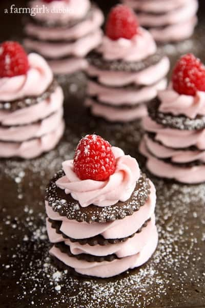 Fresh Raspberry Cream Napoleons dusted with powdered sugar