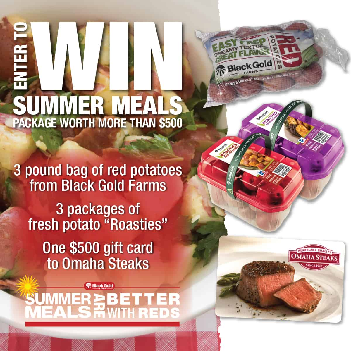 #Giveaway $500 Omaha Steaks gift card + red potatoes! Enter at afarmgirlsdabbles.com - #SummerFood #BetterWithReds #potatoes #redpotatoes #steak