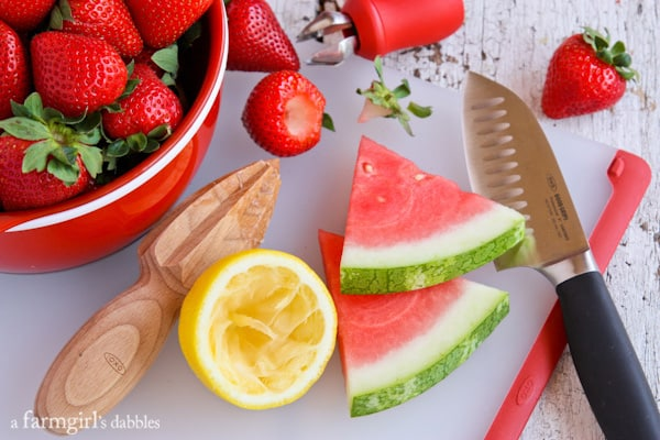 fresh lemon, watermelon, and strawberries