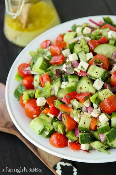 Chopped Greek-Style Salad With Red, Yellow, And Orange ...