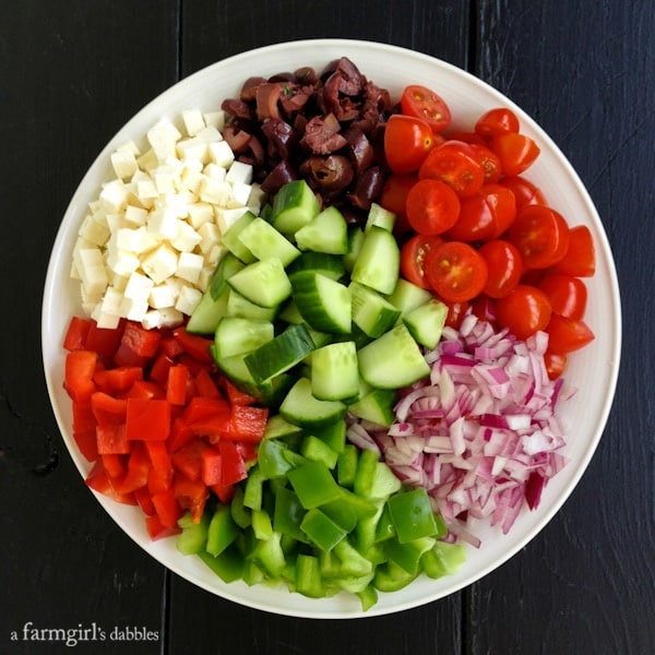 Greek Chopped Salad - afarmgirlsdabbles.com #salad #greek #choppedsalad
