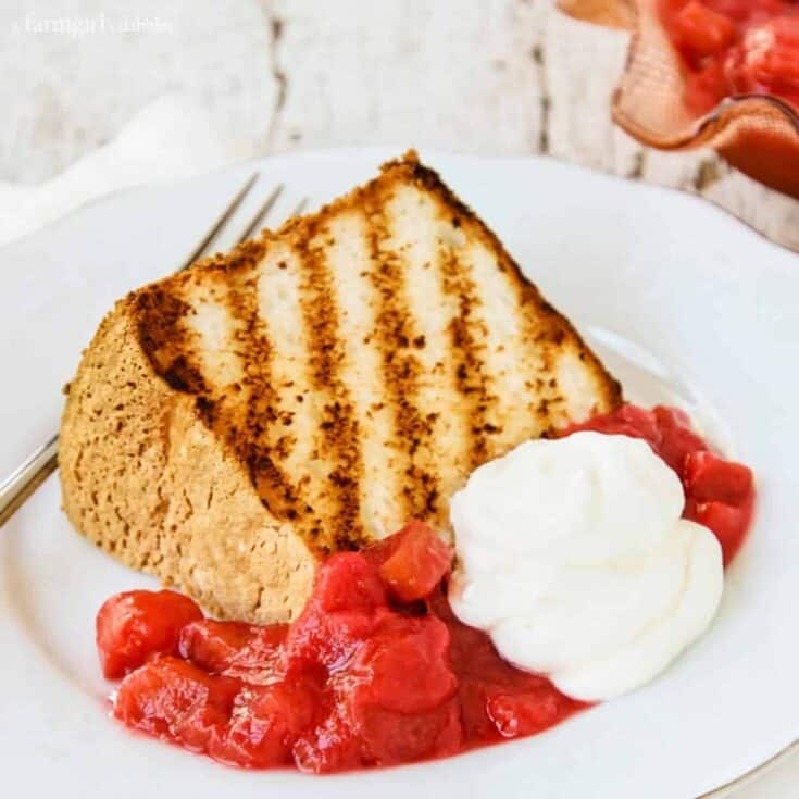 Grilled Angel Food Cake with Rhubarb Sauce on a Plate