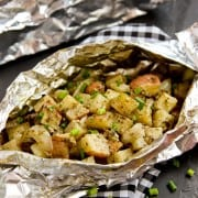 grilled potato packet with a pesto ranch sauce