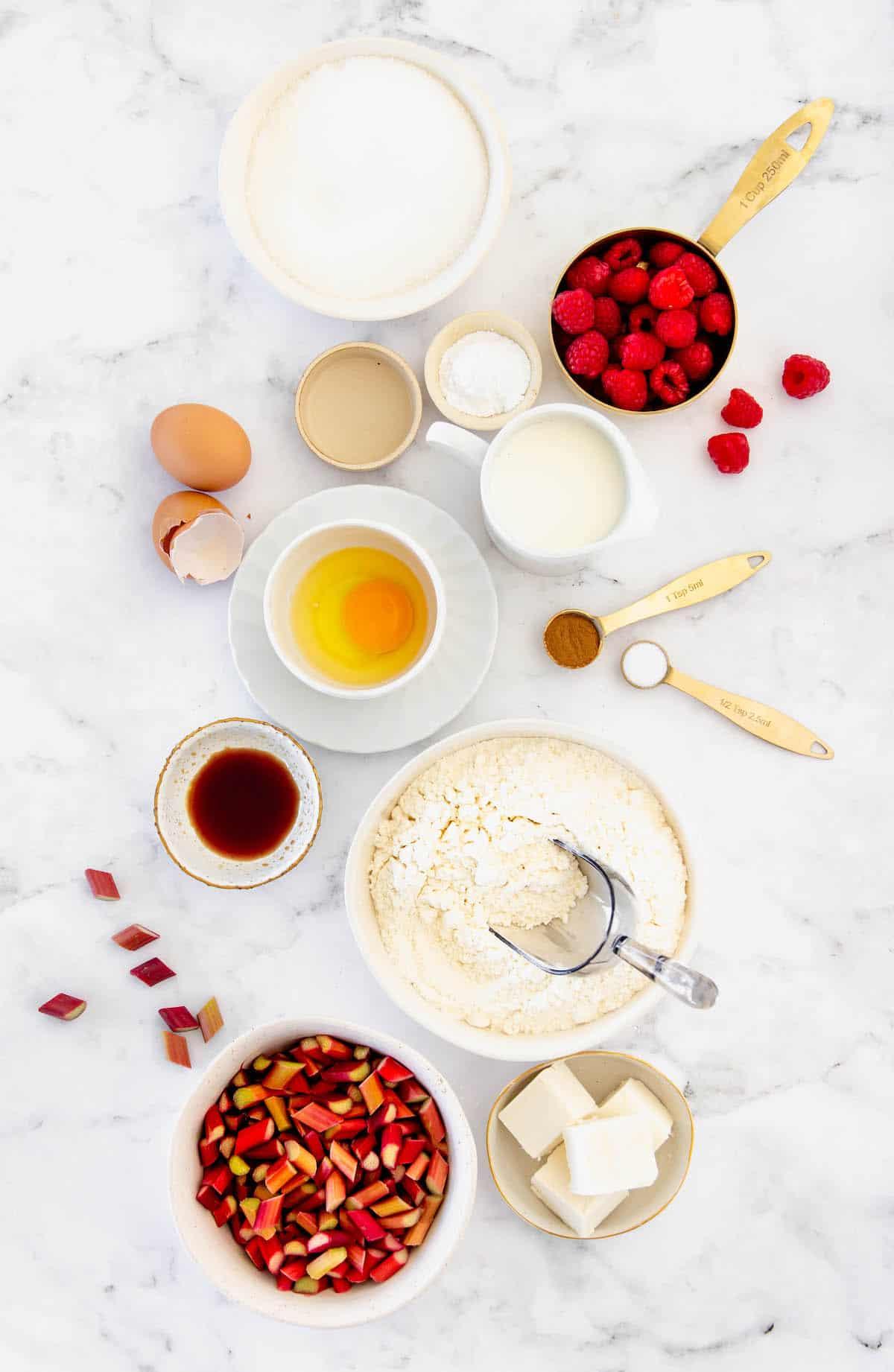 Overhead view of ingredients to make raspberry rhubarb coffee cake