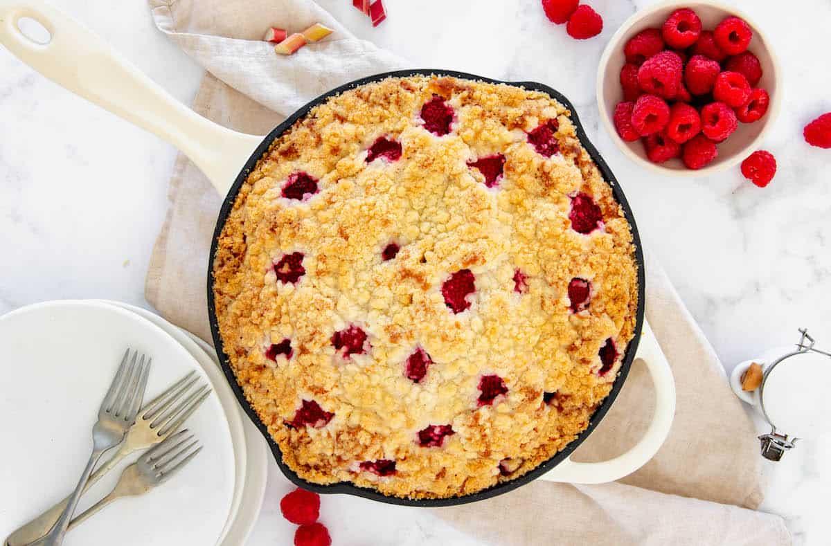 Aerial view of freshly baked raspberry rhubarb skillet coffee cake