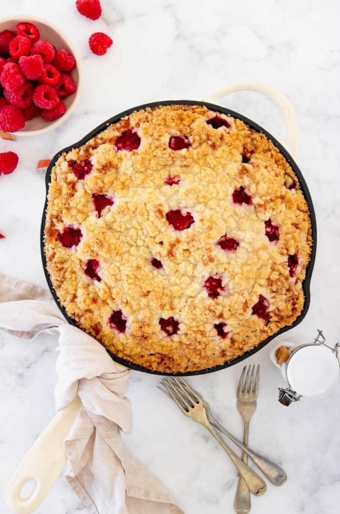 Overhead view of raspberry rhubarb coffee cake